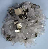 Needle Quartz Crystals with Pyrite Cubes
