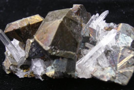 Chalcopyrite and Quartz Crystals - Peru - For Sale