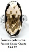 Faceted Smoky Quartz Silver Silver Ring - 6.5