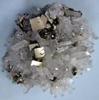 Needle Quartz Crystals with Pyrite Cubes