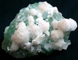 Scolecite on Green Apophyllite