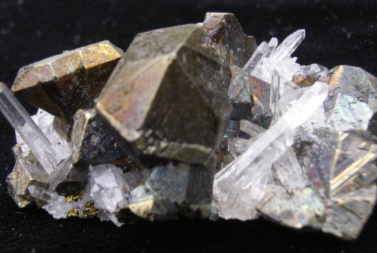 Chalcopyrite and Quartz Crystals - Peru - For Sale