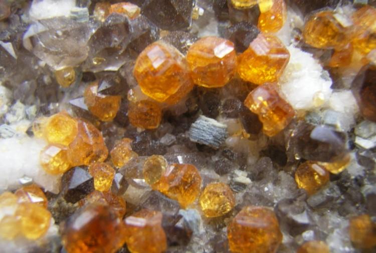 Spessartine Garnets, Smokey Quartz and Limonite After Pyrite Cubes - China