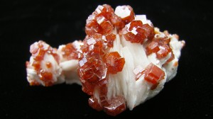 Vanadinite on White Bladed Barite - Morocco - For Sale