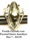 Faceted Green Amethyst Ring - Size 7 - New