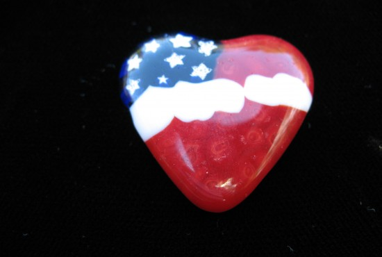 Glass American Heart Pendant For Sale